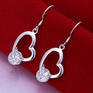 925 Sterling Silver Heart with Stone Earrings